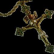 REDUCED Ancient Enamel Portuguese Crucifix  & Chain