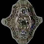 3 stone Diamond  18k white Gold Filigree Ring