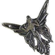 Solid Silver Art deco Brooch / pendent