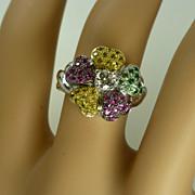 Stunning multi Stone 18k Gold Flower Ring