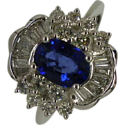 Large Quality Sapphire & Diamond 18k Gold Cluster Ring