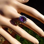 Amethyst & Diamond 18k Cluster Ring  * * * * *