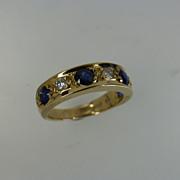 Very unusual Sapphire & Diamond Half Eternity Ring