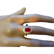 REDUCED Unusual Drop Shape Fine Ruby & Diamond Cluster Ring