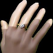 """1987 4 Stone Diamond """"crossover"""" Ring"""