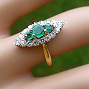 REDUCED Marquise Shape Diamond & Emerald 18k Ring