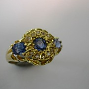SOLD Antique Sapphire & Diamond  Victorian Ring