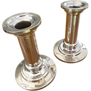 REDUCED Plain Heavy Silver Maltese Pair of Candle Sticks
