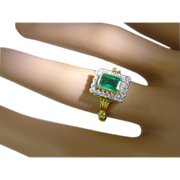 REDUCED Traditional Emerald & Diamond Cluster 18k ring * * * * *