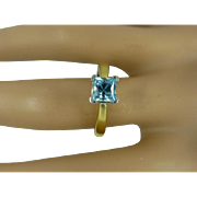 REDUCED Square Blue Zircon 18k Ring * * * * *