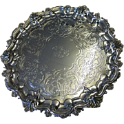 REDUCED Fine English VICTORIAN solid silver SALVER dated 1848
