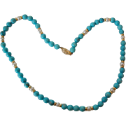 Turquoise, Pearl & Gold bead Necklace