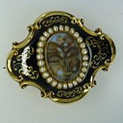 REDUCED Large 1848 real Pearl & Enamel Gold Memorial Brooch