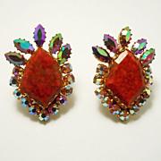 Venetian Glass & Aurora Rhinestone Flashy Earrings