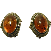 Vintage Silver & Amber Cabochon Clip Earrings