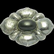 European Hallmarked Silver Onyx Brooch
