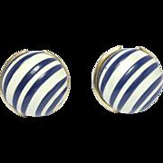 Runway Lanvin Paris Designer Cobalt Swirl Earrings