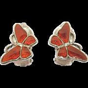 Sterling Denmark Volmer Bahner Butterfly Earrings