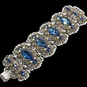 Wide Cobalt Chunky Rhinestone Bracelet Selro Style