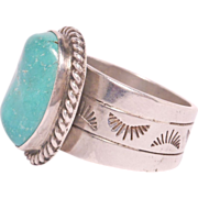 Pretty Chinese Turquoise Silver Ring 925