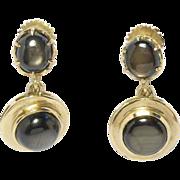 10K Cat's Eye Quartz Drop Vintage Earrings