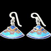 Pretty Vintage Silver Cloisonne Enamel Fan Earrings