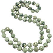 Beautiful Green Agate Beads Estate 10Mm Hand Knotted
