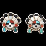 Zuni Silver Inlay Sunface Clip Back Earrings