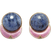 SOLD Sterling Cloisonne Enamel & Agate Earrings