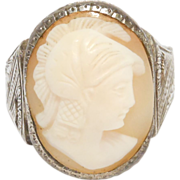 Art Deco Italian 800 Silver Engraved Carved Shell Cameo Ring