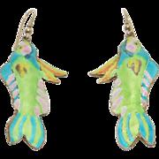 Ornate Long Cloisonne Silver Enamel Fish Earrings