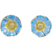 Pretty Sterling Enamel Flower Earrings Vintage