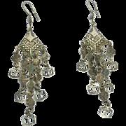Long Ornate Hallmarked Silver Dangling Earrings