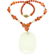 Chinese Carved Carnelian Beads Necklace With Pendant
