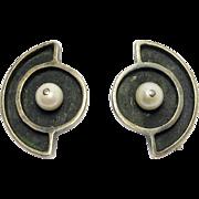 Idella La Vista Modernist Sterling & Cultured Pearl Earrings