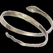 Vintage Niello Enamel Silver Snake Bracelet Unusual