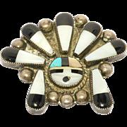 Zuni Inlay Sterling Sunface Brooch Vintage