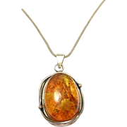 Sterling Amber Pendant And Chain Modernist