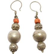 Old Ethnic Silver Ornate Bead & Coral Bead Earrings