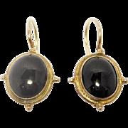 Sterling Vermeil Leverback Black Onyx Earrings