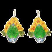 Vibrant Cloisonne Enamel Silver Floral Earrings