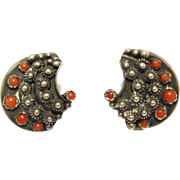 Etruscan 800 Silver Italian Red Coral Clip Earrings