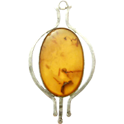 Sterling Arts And Crafts Amber Pendant Beautiful