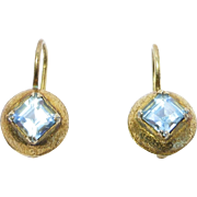 Vermeil Leverback Blue Topaz Earrings Vintage Pretty