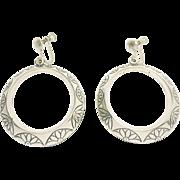 Pretty Vintage Sterling Silver Hoop Earrings 1.5 Inch