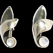 Mid Century Moonstone Silver Earrings By Carl Ruopoli