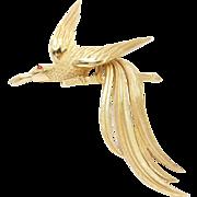 Large Vintage Trifari Bird Of Paradise Pin Red Cabochon Eye