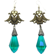 Egyptian Revival Sphinx Earrings Czech Glass Long