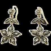 Ornate Silver & Rose Gold Rose Cut Diamonds Drop Earrings