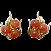 Artisan Mod Sterling Carnelian Leaf Bead Earrings Lovely